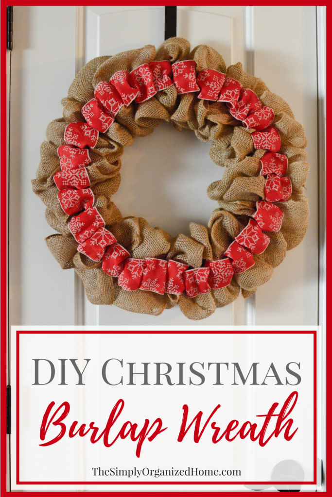 This Christmas burlap wreath is the perfect way to add some rustic charm to your home for the holiday season! It screams Farmhouse and is super budget-friendly! Pop over to get all of the details on how to make one yourself!