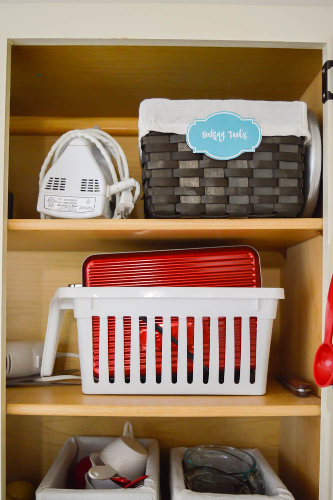 Because I Have Very Limited Drawer Space, I Opted To Use A Basket On The  Top Shelf Of This Cabinet For Some Of My Baking Tools. These Include Things  Like My ...