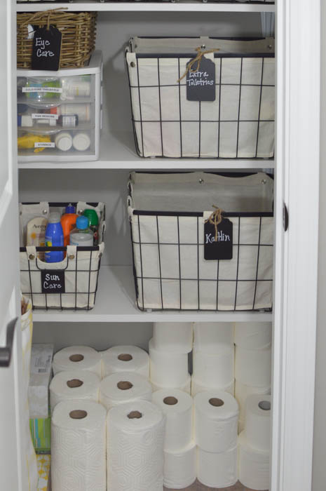 Find linen closet organization inspiration as well as tips to help you get your linen closet organized and under control!