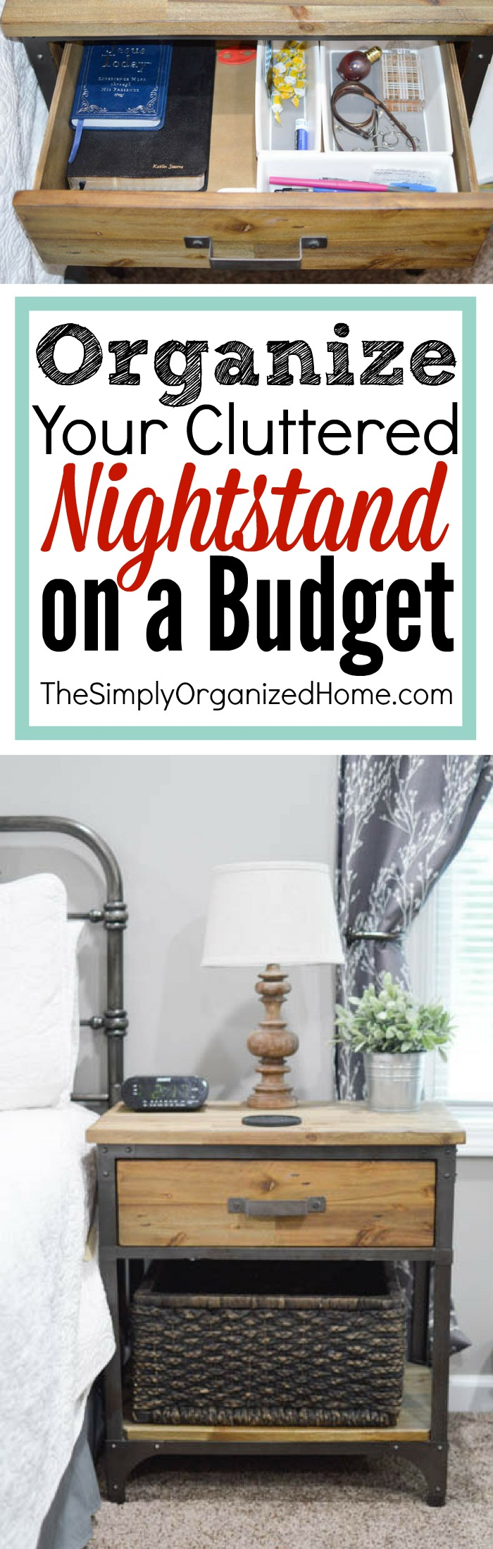 Is your nightstand overly cluttered? It's time to clear out the clutter and get it organized on a budget! Find tons of tips and tricks here.