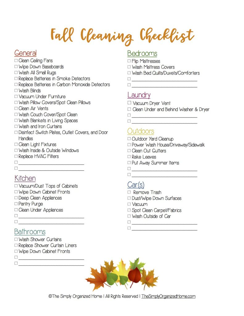Looking to get your home clean before the holidays? Use this fall cleaning checklist to get your home in tip top shape!