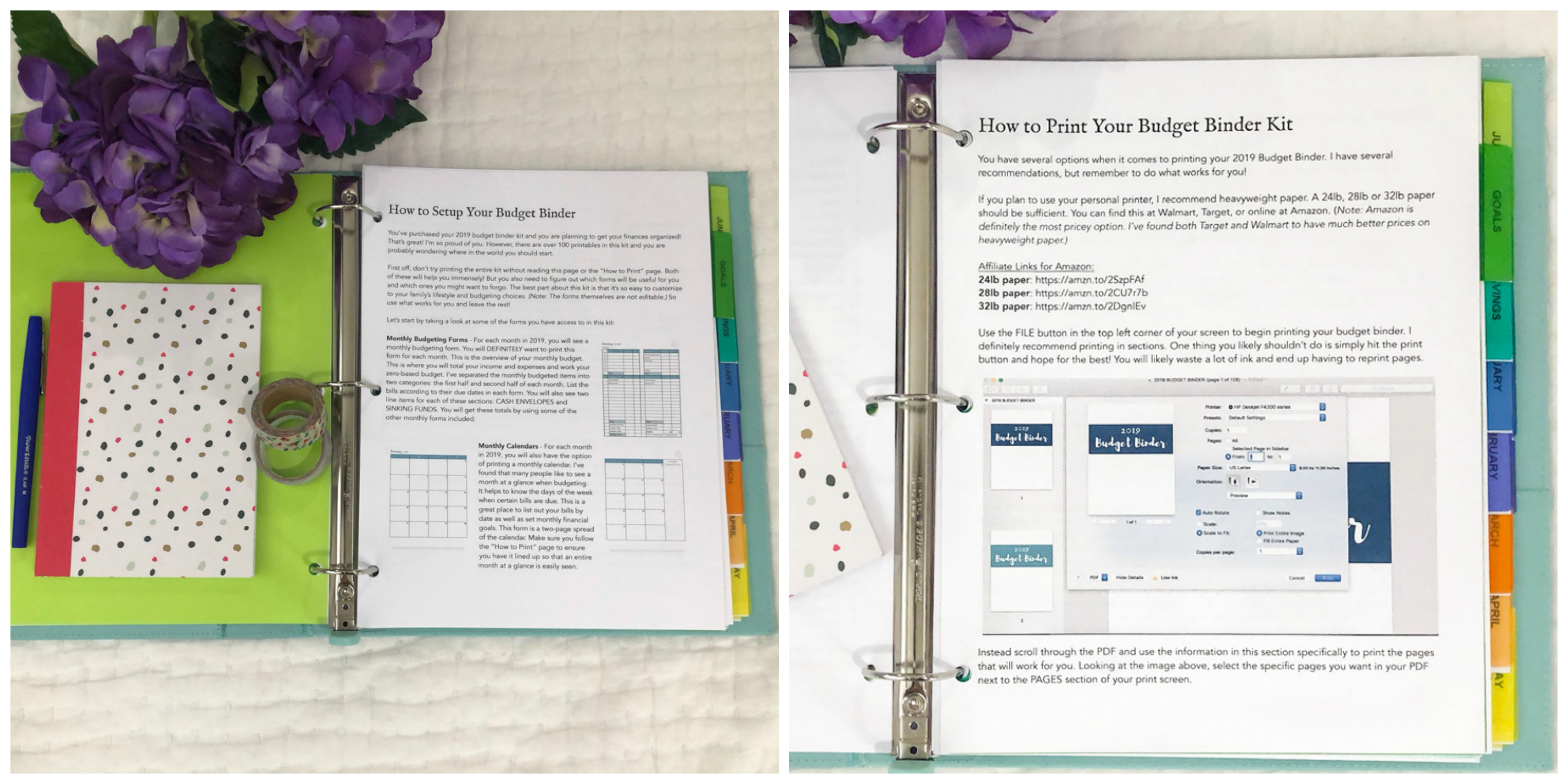 use your 2019 budget binder to set both short term and long term financial goals there is space for monthly financial planning and bill pay checklists so