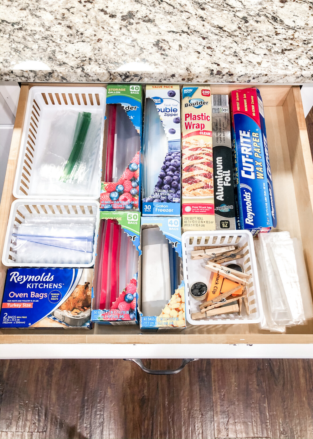 Organized Kitchen - Plastic Bags and Food Wrap