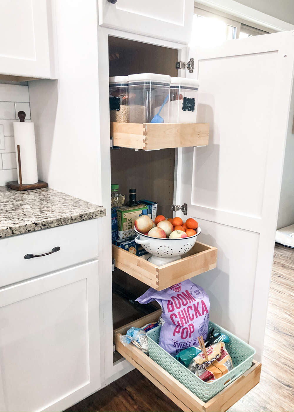Organizing a Skinny Pantry Cabinet | Tall, Narrow Pantry Cabinet Organization Ideas