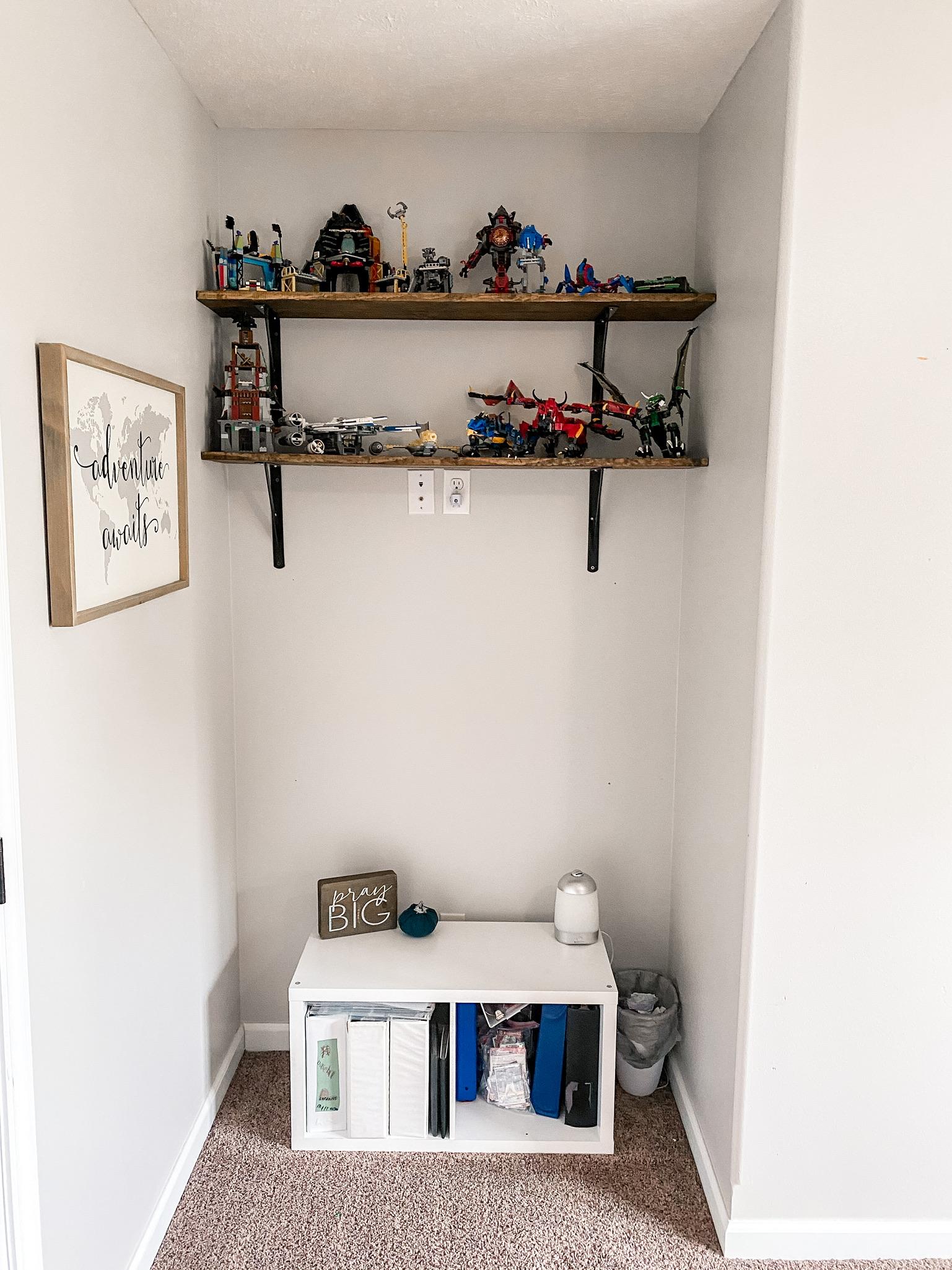 shared boys bedroom lego display